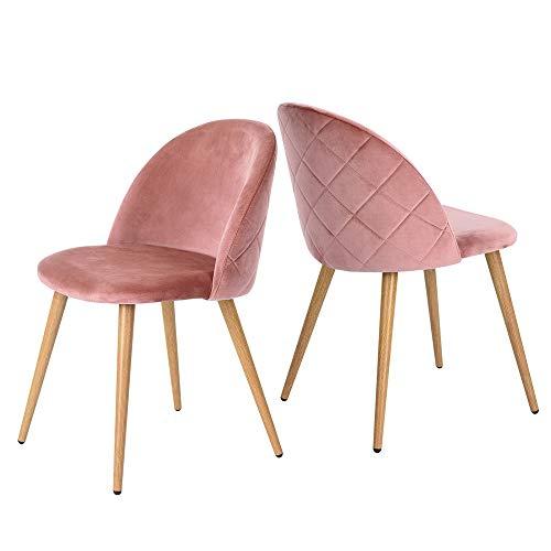 Coavas Esszimmerstühle Wohnzimmerstühle Küchenstühle Schminkstuhl Samt Weich Kissen Sitz und Rücken Mit Metallbeinen Esszimmer Stühle für ESS- und Wohnzimmer Besucherstühle 2er Set Rosa