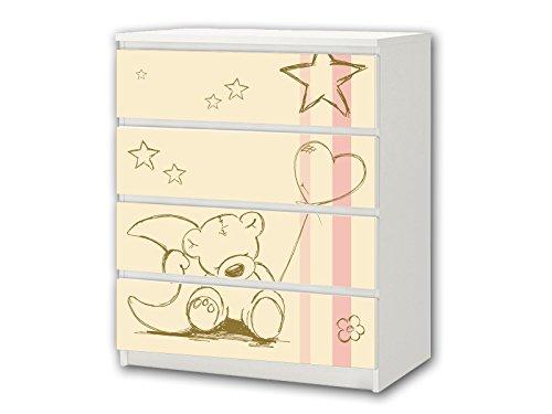 Stikkipix Teddy beige Möbelsticker/Aufkleber - M4K17 - passend für die Kommode mit 4 Fächern/Schubladen MALM von IKEA - Bestehend aus 4 passgenauen Kinderzimmer Möbelfolien (Möbel nicht inklusive)