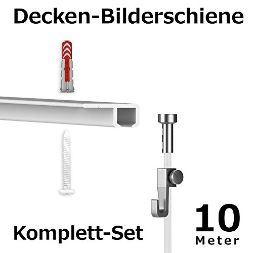 hang-it 10 Meter Deckenschienen - Galerieschienen - Bilderschienen Set für Schaufenster