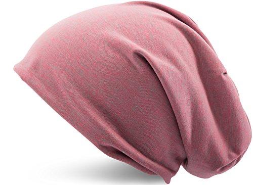 Jersey Baumwolle elastisches Long Slouch Beanie Unisex Mütze Heather in 35 verschiedenen Farben (3) (Red-Grey) (Lila Beanie Long)