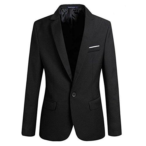Aelegant Herren Classic Slim Fit Sakko Blazer Freizeit ein Knopf Business Kurzjacke Anzugsjacke Kurzmantel (Asia 4XL/EU 56, Schwarz)