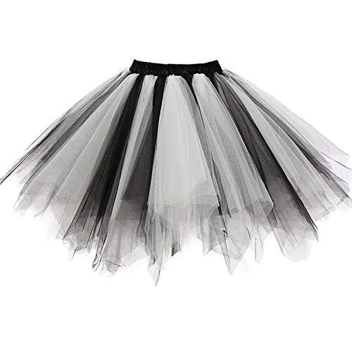 DresseverBrand Damen Petticoat 50er Rockabilly Jahre Retro Tutu Ballet Tüllrock Cosplay Crinoline Schwarz-weiß XX-Large (Weiß Und Schwarz Tutu)