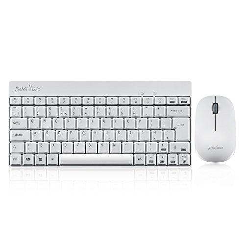 Perixx PERIDUO-712 Tastiera e Mouse Wireless PC Set Senza Fili da 2,4 GHz, Silenzioso e Sottile, Layout Italiano, Compatibile con Windows, Bianco