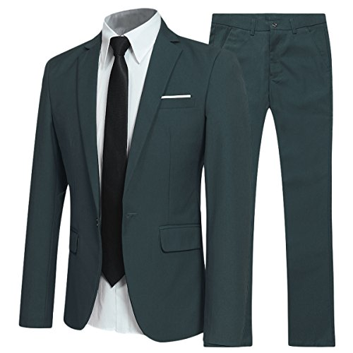 Allthemen Herren 2-Teilig Slim FIT Business Anzug Dunkelgrün X-Large