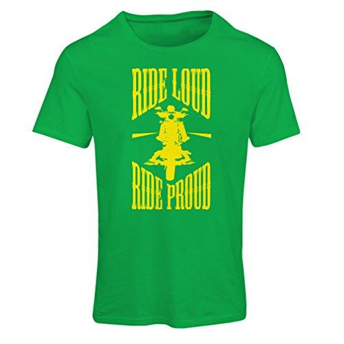 lepni.me Maglietta Donna Ride Loud! (Large Verde Multicolore)