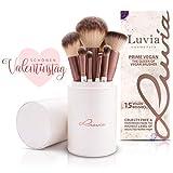 Luvia Pinsel-Set Prime Vegan - 15 Schminkpinsel inkl. Make Up Pinsel Aufbewahrung - Erlebe ein neues Beauty-Gefühl - Perlmutt/Coffee - Liebenswertes Geschenk für Frauen zum Valentinstag