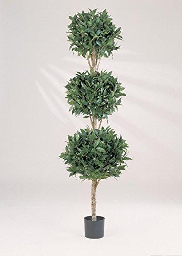 artplants Dreifacher Kunst-Lorbeerbaum QUIRIN, 3 Baumkronen, 2146 Blätter, grün, 180 cm – Kunstbaum/Dekobaum