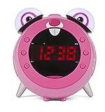 Nikkei nr280prabbit - Digital kinderen wekker Klokradio met Projectie/projecktions Klokradio/Clock/weckradio | instelbare schlummerzeit | Kinderwecker für Mädchen - Roze (Rabbit)