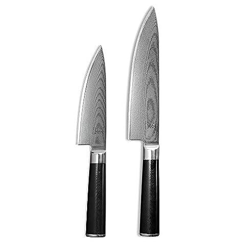 ProCook X100 VG10 Damascus - Set de couteaux de chef en acier Damas 2 pièces