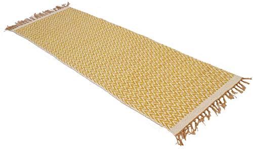 Senf Gelb Natur Fischgrätenmuster Baumwolle Garn Gold Läufer Teppich 70cm x 200cm - Baumwolle Teppich Garn