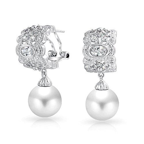 Frühstück Vintage Stil Weiß Simulierten Perle CZ Hälfte Hoop Creolen Ball Ohrhänger Für Damen Silber Platte Messing