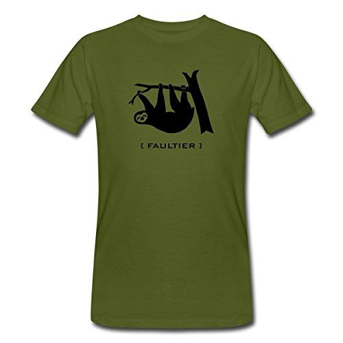 Faultier Faul Faulpelz Tier T-Shirts Männer Bio-T-Shirt von Spreadshirt®, L, Moosgrün