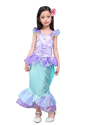 Kinder Baby-Kleidung Mermaid-tail Fancy Rüschen Hülsen-Kleider Prinzessin Ariel Bling Cosplay Halloween-Kostüm-Weihnachtsparty-Kleider (XXL=140, lila) (Mermaid Schwanz Halloween Kostüme)