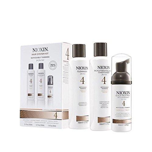 Kit Nioxin Système De Cheveux 4 Pour Bien Nettement Éclaircie, Cheveux, Traités Chimiquement (3 Produits)