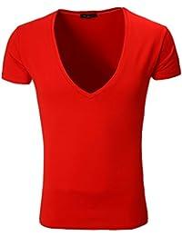 Rerock - T-shirt col v plongeant T-shirt 1315 rouge - Rouge