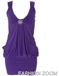 nouvelles femmes plus la taille diamonte abordent en détail drapé robe dames robe de soirée