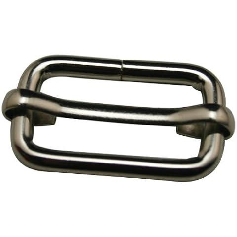 Amanaote 1cm lunghezza interna rettangolare fibbia in metallo argentato con un slideable Bar Borsa ajusters per cintura fibbie Borsa Accessori - Belt Buckle Fibbie