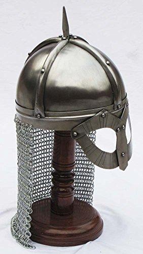 Shiv Shakti Enterprises Mittelalterlicher Gjermundbu-Wikingerhelm, Normannen-Brillenkopfschutz, mit Kettenpanzer, inklusive Holzständer -