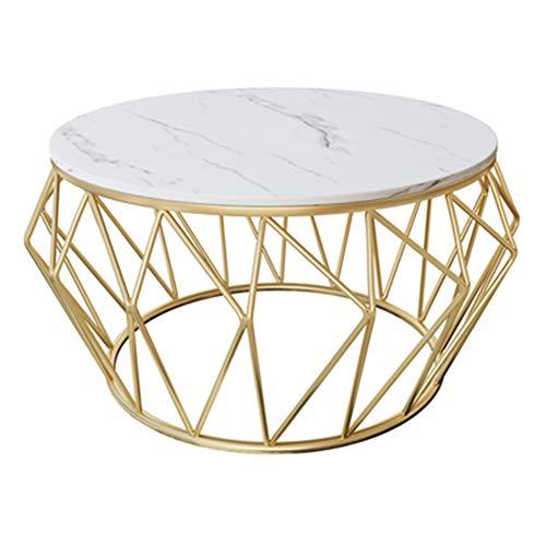 XQKXHZ Beistelltisch, Marmor Couchtisch Einfache Moderne Wohnzimmer Beistelltisch Sofa Seite Laptop Tisch Kreative Schmiedeeisen Runden Tisch,Weiß,80 * 45cm