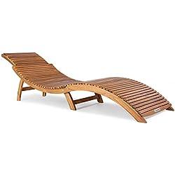 Chaise Longue Bois d'acacia Ergonomique Pliable Appuie-tête réglable Bain de Soleil Transat en Bois Terrasse Jardin