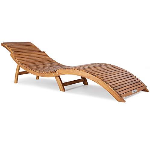 Casaria Sonnenliege FSC®-zertifiziertes Akazienholz Faltbar Kofferfunktion Ergonomisch Gartenliege Liegestuhl Holziege Liege
