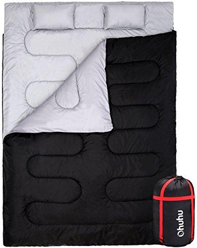 Doppelschlafsack, Ohuhu Groß 218 x 150cm erwachsene winter Deckenschlafsack mit 2 Gratis Kissen und eine Tragetasche, vier Doppel Zippern, angenehme Temperatur: 0℃/32F-10℃/50F für Camping