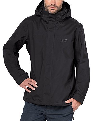 Jack Wolfskin Herren Highland Jkt M Atmungsaktiv Wasserdicht Winddicht Outdoor Funktionsjacke Wanderjacke Regenjacke Wetterschutzjacke, Black, XL