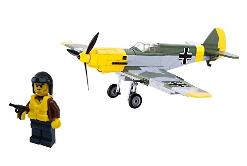 Modbrix 5517 - ✠ Bausteine Messerschmitt BF-109 Flugzeug inkl. Luftwaffen Pilot aus original Lego® Teilen ✠ thumbnail