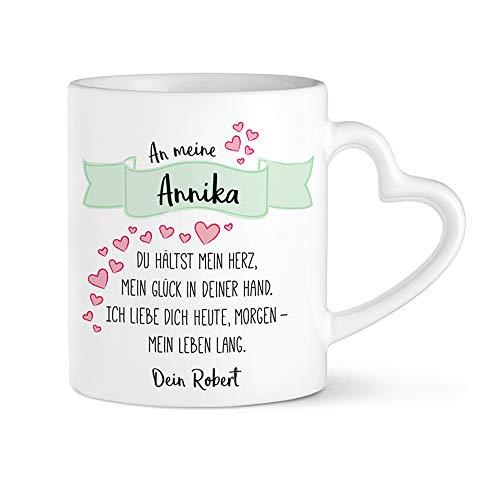 Tassenwerk - Herzhenkeltasse mit Liebesgedicht Aufdruck – Personalisiert mit Namen – Kaffee -...
