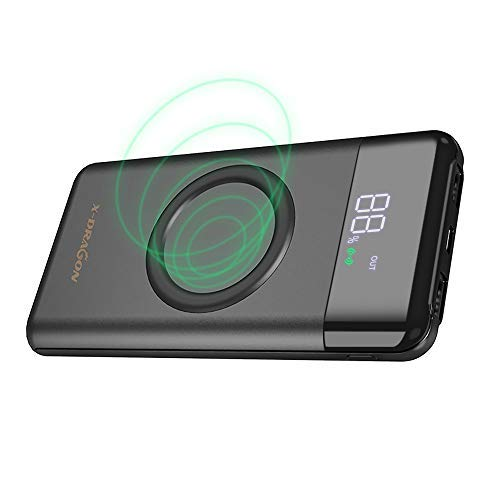 X-dragon caricatore wireless power bank 10000mah caricabatteria portatile dual 2a ingresso(usb c & micro) batteria esterna con lcd display per iphone x,iphone 8,samsung galaxy s9/s8/s7 note 8
