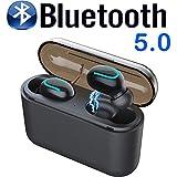 tomaxx Bluetooth Headset Q32 TWS Kopfhörer 5.0 PowerBank Kompatibel mit iPhone 6 6 Plus XR XS X 8 8 Plus 7 7 Plus, Samsung Galaxy S8 S9 S10, Motorola G7, Nokia 9, Huawei P30 (schwarz)