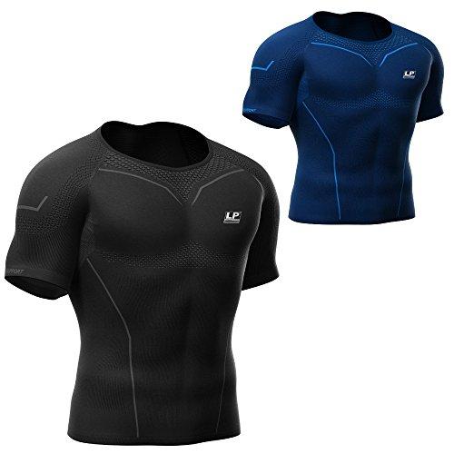 LP Support Air-Series ARM-2301-Z Compression Short Sleeve Top - kurzärmliges Herren-Funktionsshirt - Kompressions-Shirt - Funktions-Unterwäsche - Thermo-Shirt für Männer, Größe:XL, Farbe:schwarz (Shirt Top Thermo-unterwäsche)