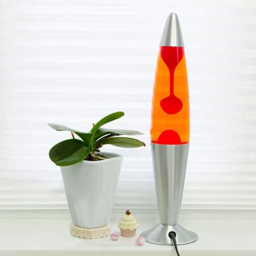 Lavalampe Jenny Orange Rot Lavaleuchte 42cm hoch Gestell Silber Kabelschalter Leuchtmittel inklusive Vulkanlampe Innen Wohnzimmer Schlafzimmer