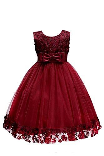 YMING Mädchen Kleider Armelos Brautjungfern 3D Blumenkleid Hochzeitparty Festliches Prinzessin Kleid,Burgundy,5-6 Jahre (Kleider Für Teenager Prinzessin)