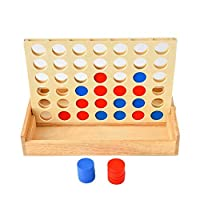chlius 4 In A Row Game Chess, Multi-Color Connect Four In A Row Toys, Rubber Wooden Boxed, Parent-Child Educational Toys Classic Board Game