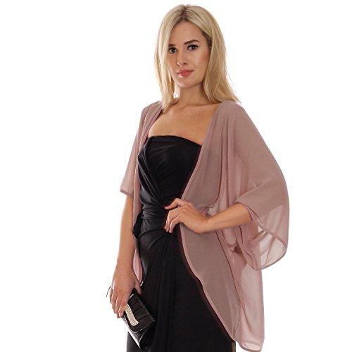 MontyQ Eleganter Sommer Chiffon Cardigan zum Abendkleid Kimono Stil Offen Nude M