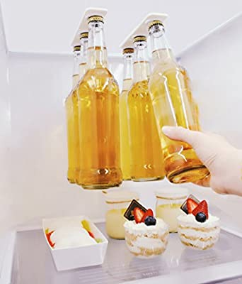Soporte de cerveza magnética / suspensión para 6 botellas, ahorre espacio y organice las botellas al techo del refrigerador y las rejillas - un gran regalo para cualquier persona que le gusta beber cerveza fría - Magenesis®