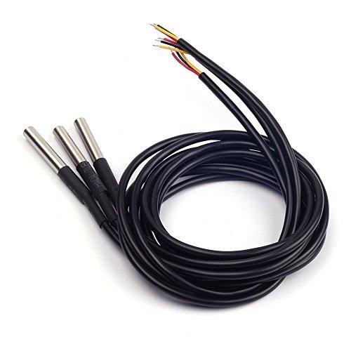 Cylewet DS18B20 Temperatursensor, digital, thermische Sonde, wasserdicht, für Arduino, 3 Stück, CLW1010 -