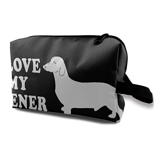 I Love My Dog Dachshunds Small Travel Toiletry Bag Super Light Toiletry Organizer for Overnight Trip Bag Crochet Net Bag