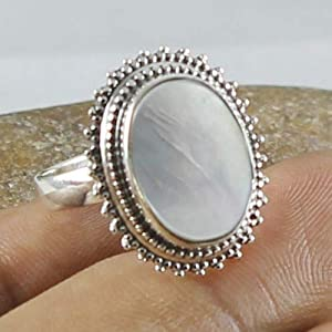 Solid 925 Sterling Silver Natural Mother Of Pearl Gemstone Ring Jewelry, Valentine's Day Gift for Women, Valentine Love Jewelry