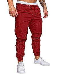 Minetom Pantaloni Uomo Moda Cargo con Coulisse E Tasche Laterali Trousers  Sport Pants Elastici Casuale Maschi da4e527bd985