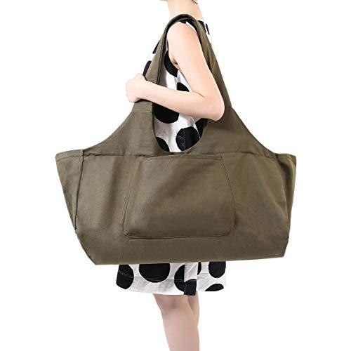 Slimerence Yogatasche, Oversize Yoga Kit Tasche aus 100% feine Leinwand - Multifunktionale Aufbewahrung wie Yoga-Matte, Yoga Roller, Handtu...