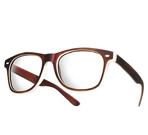 NEW UNISEX (Damen Herren) Retro Vintage Brille CLEAR LENS Saubere Linsen Retro Vintage Shades Morefaz(TM) (Brown Rubi clear lens)