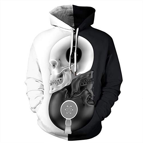 Unisex Hoodie Skull Smoke 3D Digitaldruck Damen Sweatshirt Fashion Couple Wear Baseball Uniform