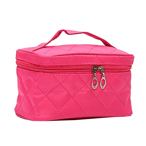 Tenflyer Fashion Lady Organizer Sac multi fonctionnel Cosmetic Stockage Sacs Femmes Maquillage Sac Insérer avec des poches Toiletry Pouch (Rose Rouge)