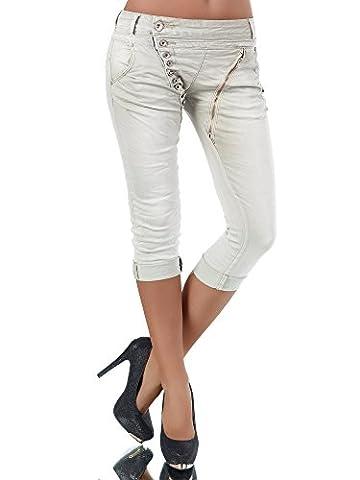 N123 Damen 3/4 Capri Jeans Hose Shorts Damenjeans Hüftjeans Caprijeans Boyfriend, Farben:Beige;Größen:38