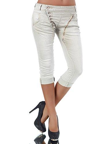 N123 Damen 3/4 Capri Jeans Hose Shorts Damenjeans Hüftjeans Caprijeans Boyfriend, Farben:Beige;Größen:38 (M) (Capri Slim-jeans)
