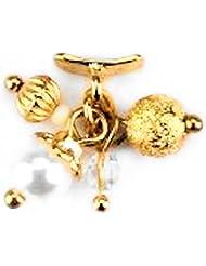 2 Stück OVERLAYS #79 Goldener Karabiner mit diversen Perlen in Gold und Weiß M-113