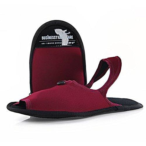 Pixnor Travel Icone TF601 2-in-1 Portatile Pieghevole Antiscivolo Viaggio Ciabatte Sandali Per Uomo e Donna - Taglia M (Nero) Rosso Taglia S