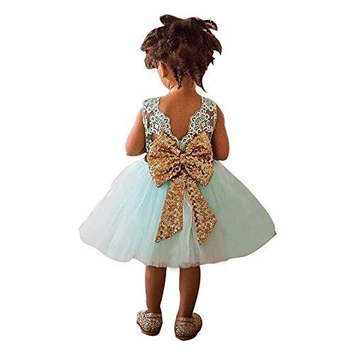 ider 152, Mädchen Kleid Spitze Tüll Kleid Bogen Kinder Kleiden Mädchen Spitzenschleier Baby Ball äRmellos Sommerkleid Mädchen 146 ()